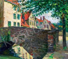 Kiss, Rezső - Town Scene with a Stone Bridge (Brugge)