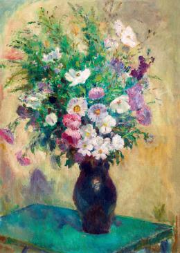 Iványi Grünwald Béla - Balatonlellei csendélet a kerti asztalon (Őszi rózsák), 1930