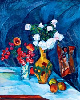 Perlrott Csaba Vilmos - Párizsi műterem kék drapériával, 1912