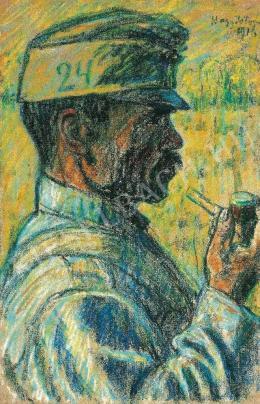 Nagy István - Profilban pipázó, 1916