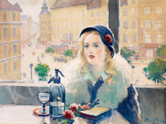 Pécsi-Pilch, Dezső - Girl with a Hat in a Café (In the City), 1937 | 55th Spring Auction auction / 4 Lot
