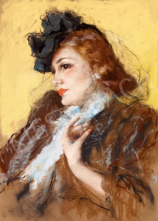 Fried Pál - Fiatal szépség kalapban, fátyolban   55. Tavaszi Aukció aukció / 141 tétel