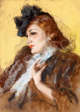 Fried Pál - Fiatal szépség kalapban, fátyolban