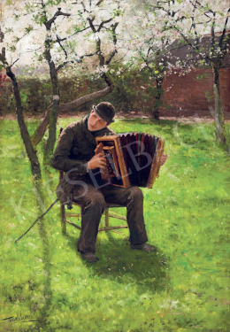 Verstraete, Theodor - Accordian Player in a Spring Garden