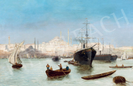 Unknown, presumably Austrian painter, c. 1900 (Adolf Kaufmann?) - Harbour in Istambul