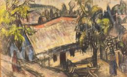 Gráber Margit - Rálátásos tájkép udvarral és dombokkal