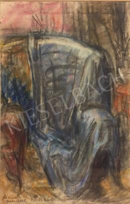 Gráber Margit - Műtermi részlet kék fotellal és drapériával