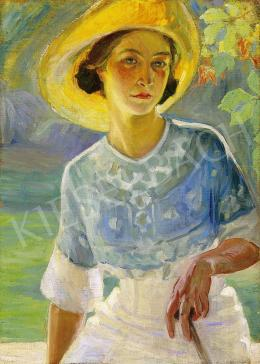 Unknown painter, 1920's - Woman in a yellow hat