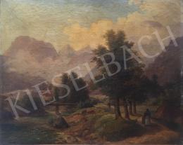 Ismeretlen művész, 1865 körül - Tájkép utazóval,1865