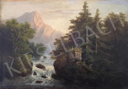 Ismeretlen művész, Hein szignóval - Folyó, háttérben heggyel  festménye