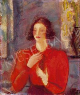 Márffy, Ödön - Girl in red blouse