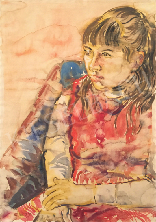 Eladó Mikes István József - Ülő lány festménye
