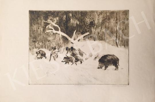 Csergezán Pál - Vaddisznók télen I. festménye