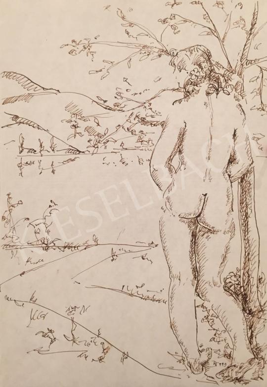 Eladó Dániel Kornél Miklós - Zebegény (Háttal álló női akt tájban), 1993 festménye