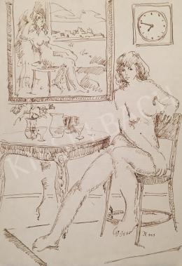 Dániel Kornél Miklós - Zebegény (Ülő női akt szobában), 1993