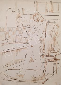 Dániel Kornél Miklós - Női akt fürdőszobában, 1992
