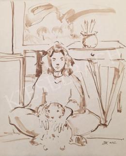 Dániel Kornél Miklós - Lány kutyával, 1992