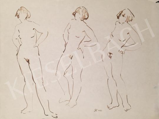 Eladó Dániel Kornél Miklós - Álló női akttanulmányok, 1993 festménye