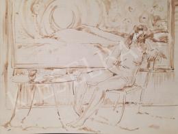 Dániel, Kornél Miklós (Fisch Kornél) - Women Nude Sitting in a Room
