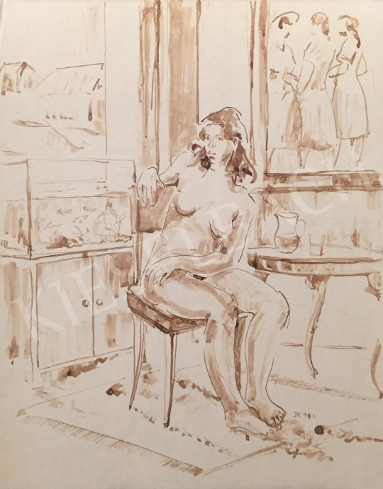 For sale Dániel, Kornél Miklós (Fisch Kornél) - Women Nude Sitting in a Room, 1992 's painting