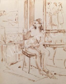 Dániel, Kornél Miklós (Fisch Kornél) - Women Nude Sitting in a Room, 1992