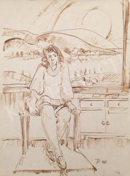 Dániel Kornél Miklós - Szobában ülő nő, 1981