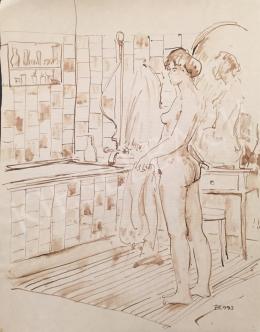 Dániel Kornél Miklós - Női akt fürdőszobában, 1993