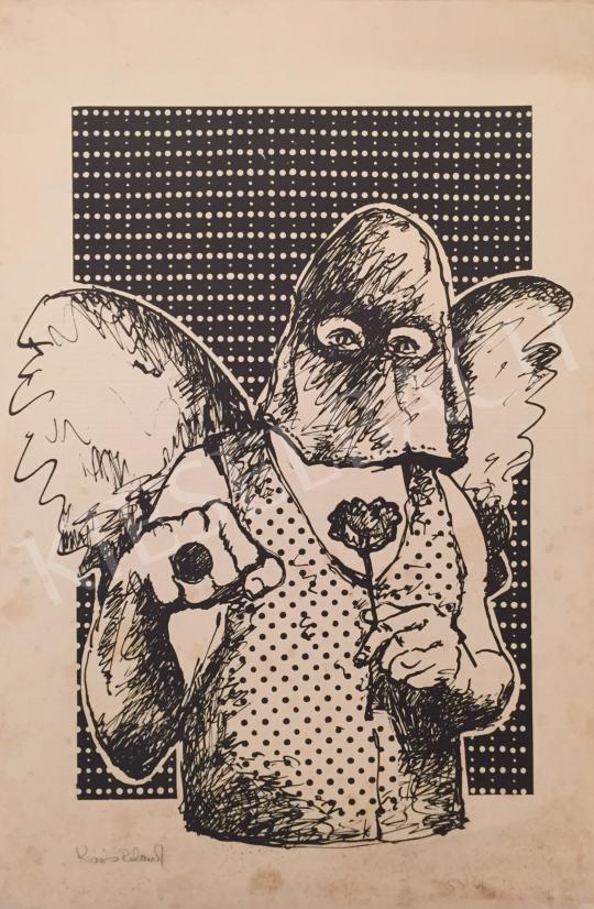 Eladó Kosnás Roland - Szárnyas férfi rózsával a kezében festménye