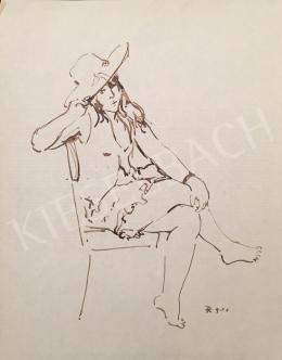 Dániel, Kornél Miklós (Fisch Kornél) - A Lady Sitting in a Chair, 1992