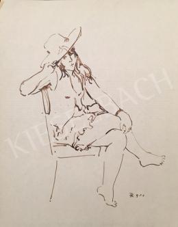 Dániel Kornél Miklós - Széken ülő kalapos hölgy, 1992