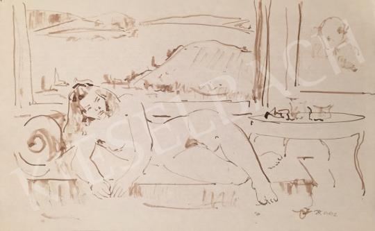 Eladó Dániel Kornél Miklós - Enteriőrben heverő nő, 1992 festménye