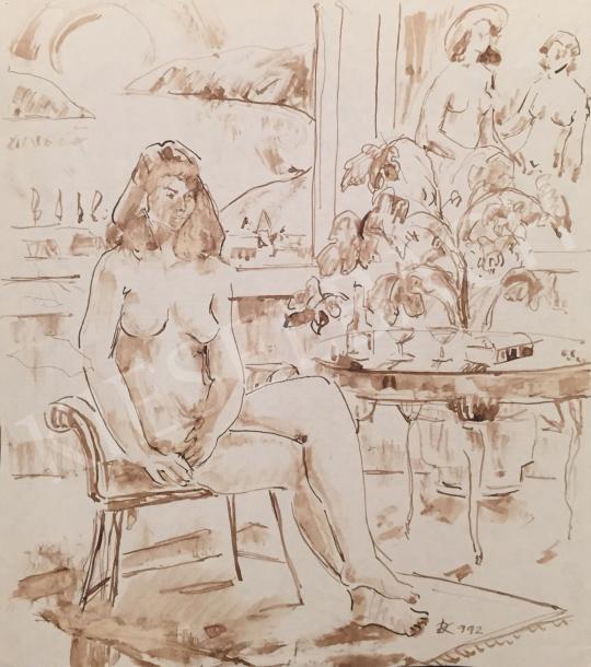 Eladó Dániel Kornél Miklós - Ülő női akt enteriőrben, 1992 festménye