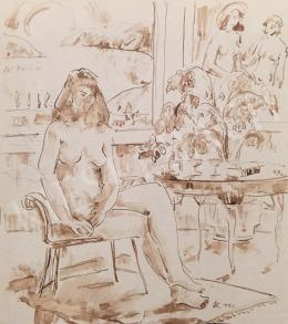 Dániel, Kornél Miklós (Fisch Kornél) - Sitting Female Act, 1992