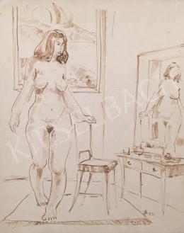 Dániel Kornél Miklós - Toalett asztal előtt álló női akt, 1992