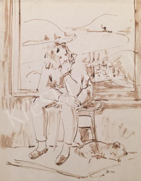 Eladó Dániel Kornél Miklós - Széken ülő gondolkozó nő kutyával, 1992 festménye