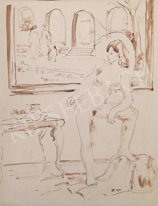 Eladó Dániel Kornél Miklós - Támaszkodó női akt enteriőrben, 1993 festménye