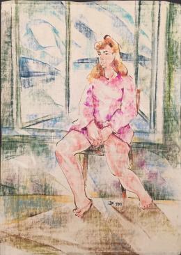 Dániel Kornél Miklós - Ablakban ülő nő, 1991
