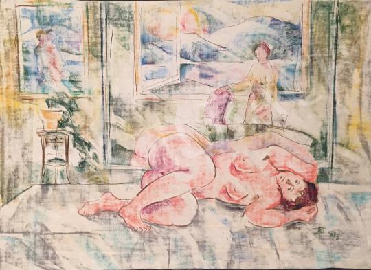 Eladó Dániel Kornél Miklós - Heverő női akt, 1992/1993 festménye