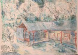 Dániel Kornél Miklós - Kékes táj házzal, 1993