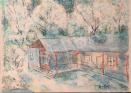 Dániel, Kornél Miklós (Fisch Kornél) - Blue Landscape with a House, 1993