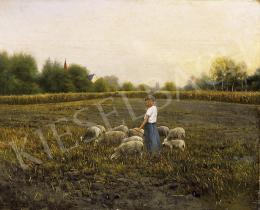 K. Spányi Béla - Kislány bárányokkal