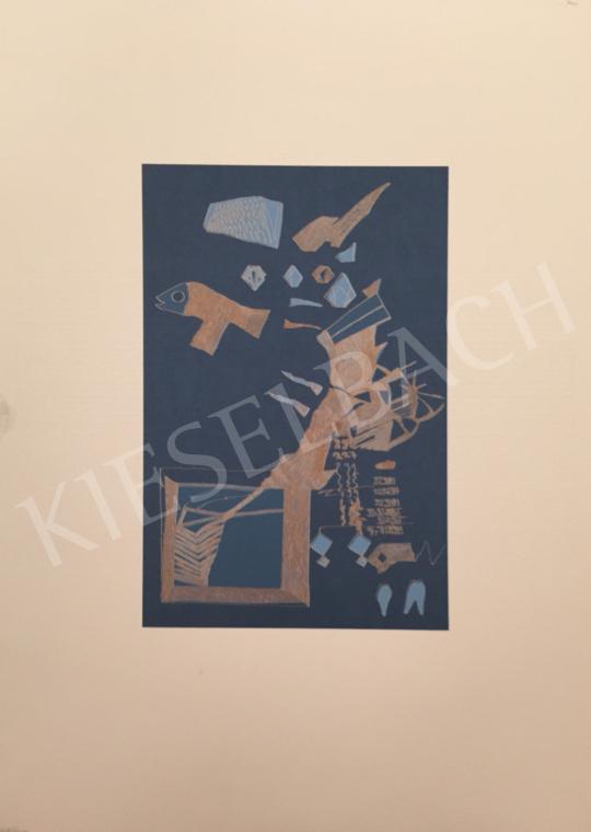 Eladó  Ismeretlen művész olvashatatlan jelzéssel - Kék halas kompozíció, 1998 festménye