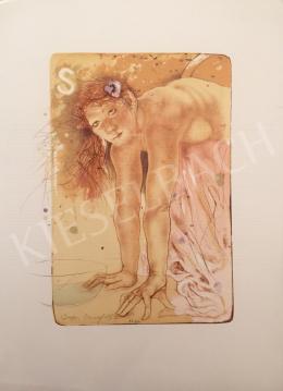 Ismeretlen művész olvashatatlan szignóval - Női alak tállal, 1996