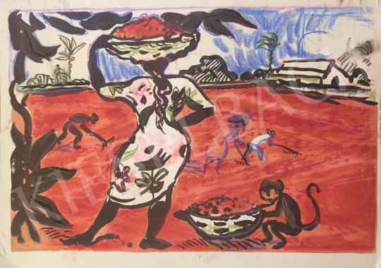 Eladó Vilhelm Károly - A kávé szárítása festménye