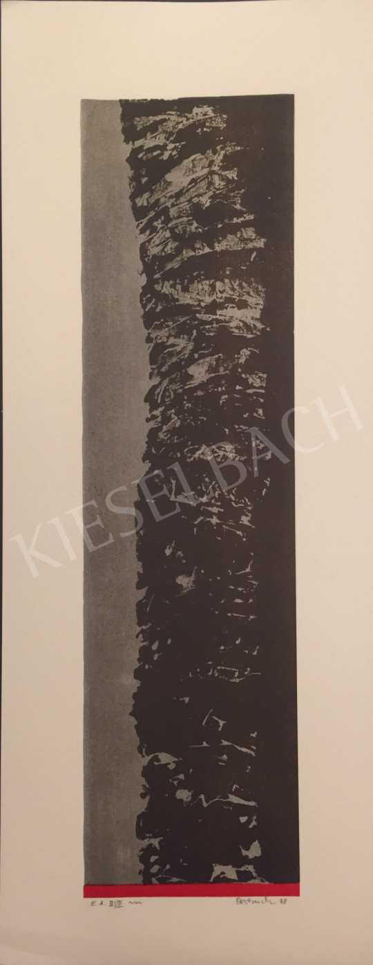For sale  Unknown Artist with Oestreich Signature - Grey Black Composition with Red Stripes, 1998 's painting