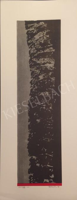 Ismeretlen művész Oestreich szignóval - Szürke fekete kompozíció piros csíkkal, 1998