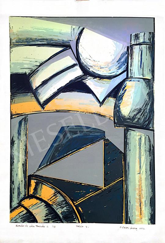 Eladó  Győrffy Sándor - Kemény és lágy formák I., 1993 festménye