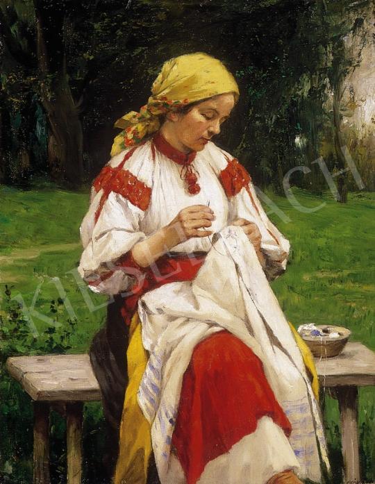 Ismeretlen festő - Kézimunkázó kislány | 7. Aukció aukció / 95 tétel
