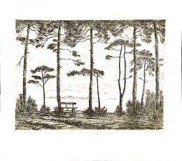 Varga, Mátyás - Landscape with Bench, 1990