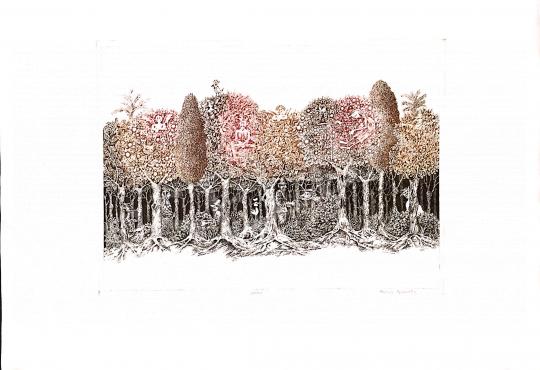 Molnár Gabriella - Mesejelenet, meseerdő festménye